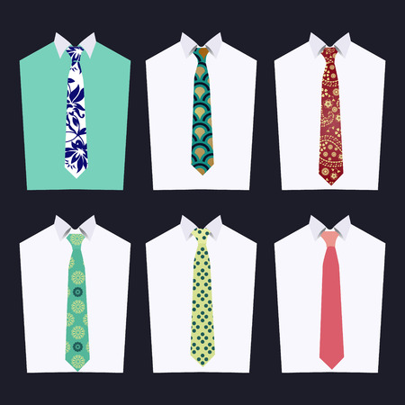 white collar: Vector fashion illustration of men accessories . Fashion of different Neckties  for design fashion look