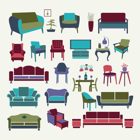 divan: Vector Collection  of icons set Interior  design elements.  Furniture set  -illustration