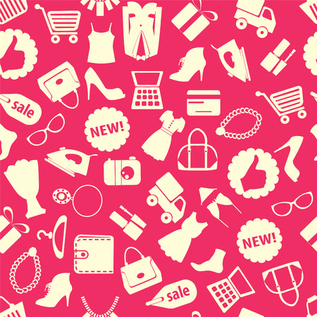 Seamless pattern vector background with colorful shopping icons Illusztráció