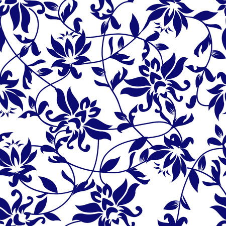 oriental background: Vector lotus - seamless pattern - Illustration. Beauty Background with a blue lotus. Illustration