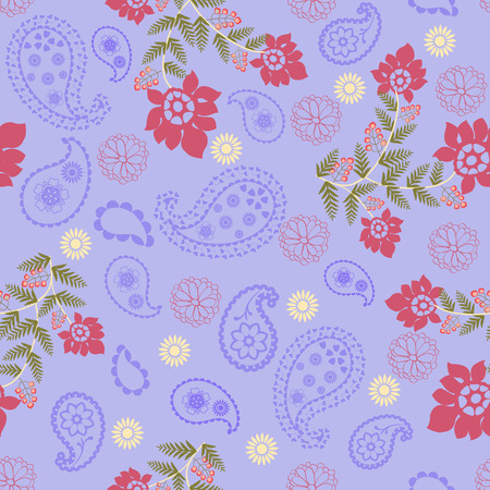 knack: Vector seamless Romantic Beauty pattern with Flower and  Paisley- Illustration
