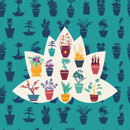 ferns and orchids: Background Vector stilyzed silhouette of garden flowers  and  herbs pot plants icons set - Illustration