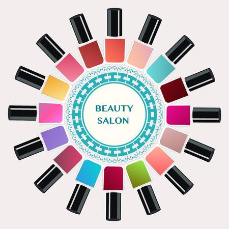 nails art: Vector  Set of colorful nail polish bottles. Nails art beauty salon background - Illustration