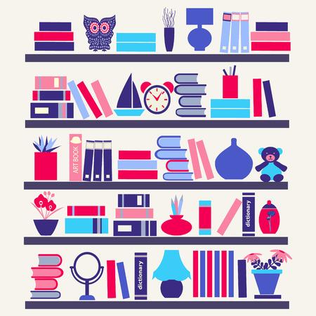 green book: Background of  books on the Bookshelves- Illustration in flat style Illustration