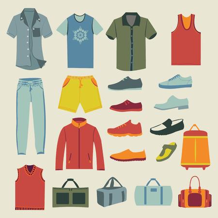 ropa de verano: conjunto de la colecci�n de moda de hombre armario. Varios-ilustraci�n de ropa masculina. Conjunto de hombres de ropa y accesorios de iconos Vectores