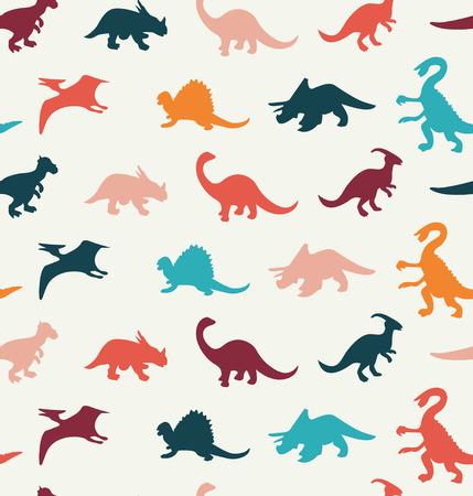 dinosaurio caricatura: Patrón Vector de dibujos animados de colores diferentes siluetas de dinosaurios - Ilustración