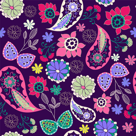 intricacy: Vector seamless Romantic Beauty pattern with Flower and  Paisley- Illustration