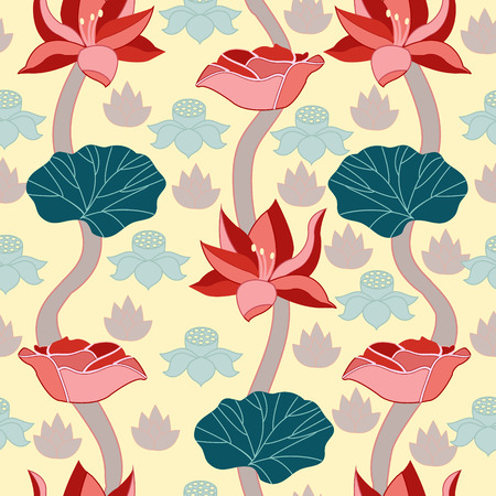zenlike: Vector lotus - seamless pattern - Illustration.Beauty Background with a lotus. Illustration