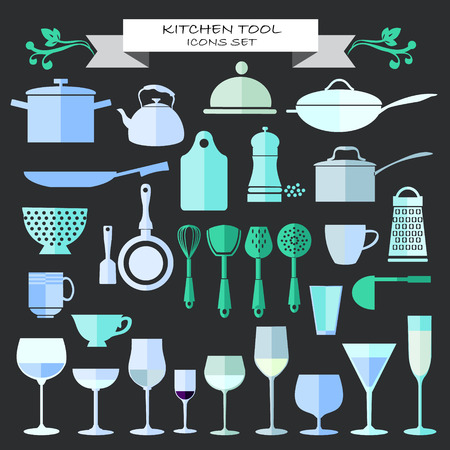 commercial kitchen: vector Kitchenware and restaurant , glassware icons set in flat design Silhouette.