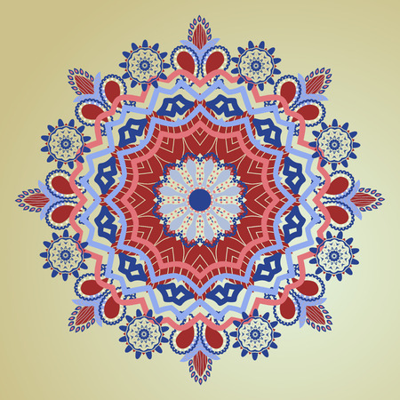 arts culture and entertainment: Colorful Mandala hand-drawn patterns round ornament. Decorative elements for you design Illustration