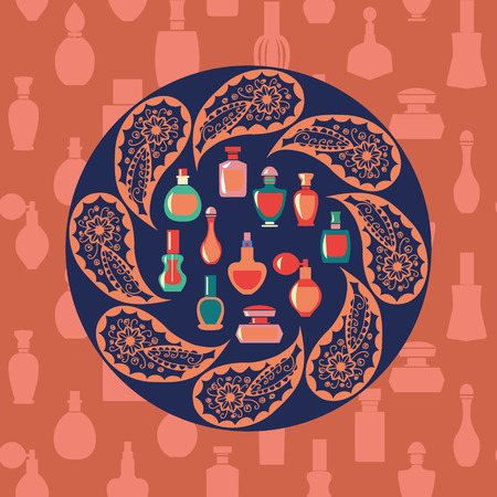 Vector of bottle icon collection, vector background silhouette,  Perfume Bottles  Simple shapes were used.
