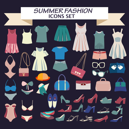 fashion boutique: Vector  Fashion beautiful collection of woman clothes  and accessories, vintage style. Fashion boutique  for design fashion look - Illustration Illustration
