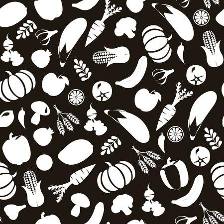 Vector nero e Wihte Sfondo con alimento sano, Frutta e verdura silhouette Eco alimentare Vettoriali