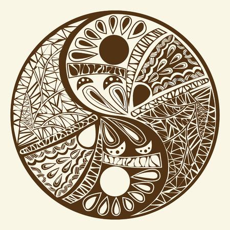 chineese: Yin yang symbol, asian decoration element Pattern on white Background. Yin Yang  tattoo for design Symbol vector illustration