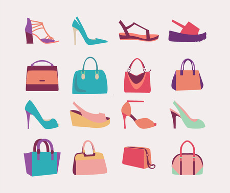 high heels: Collection of  fashion Women bags handbags and High Heels shoes in flat style