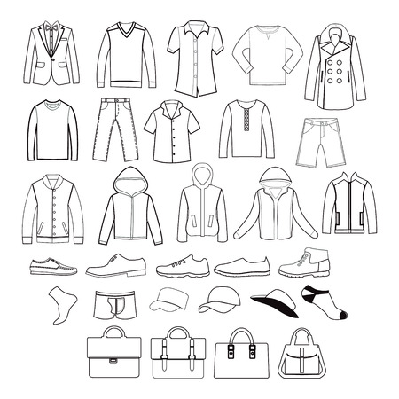 leather pants: Vector icons set of Fashion man clothing and accessories-illustration silhouette Illustration