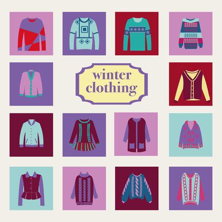 ropa de invierno: colecci�n de vectores de la mujer y el hombre la ropa de invierno - ilustraci�n