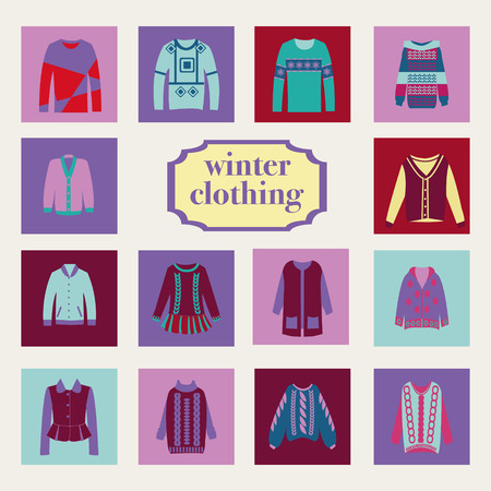 winter clothes: vector collection of woman and man winter clothes - illustration Illustration