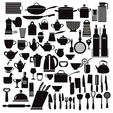 commercial kitchen: vector kitchen and restaurant icon kitchenware set - illustration Illustration