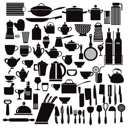 work table: vector kitchen and restaurant icon kitchenware set - illustration Illustration