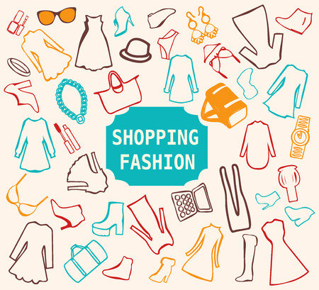shoppping: fashion clothing.  Women clothes and accessories  doodles - Illustration