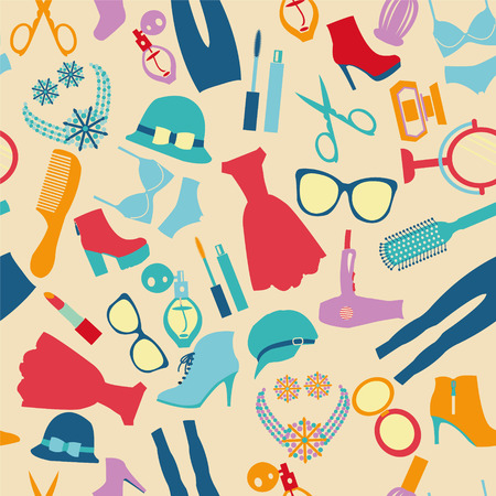 illustrate: Vector of fashion and clothes accessories seamless pattern- illustration Illustration