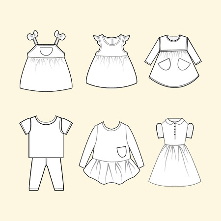 children clothing: Vector collection of skethch baby and children clothes collection