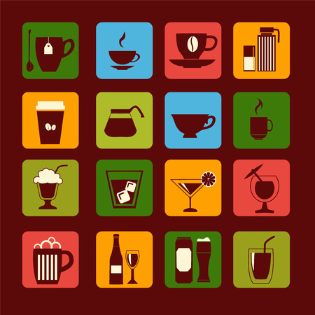 drinkware: vector icons set of drinks, glasses and beverages -illustration Illustration