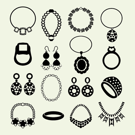 vector jewelry icons set women accessories - Illustration Illusztráció