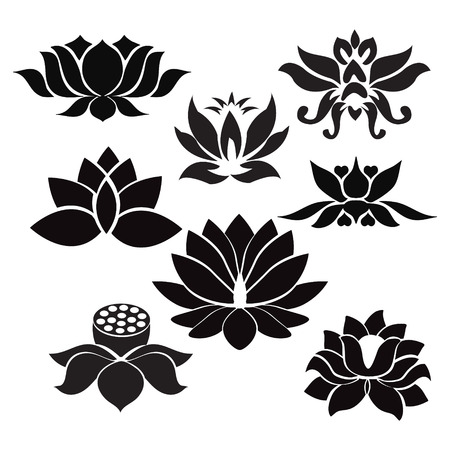 water lilies: Vector Lotus flowers silhouettes. Set of eight vector illustrations. - Illustration  on white background Illustration