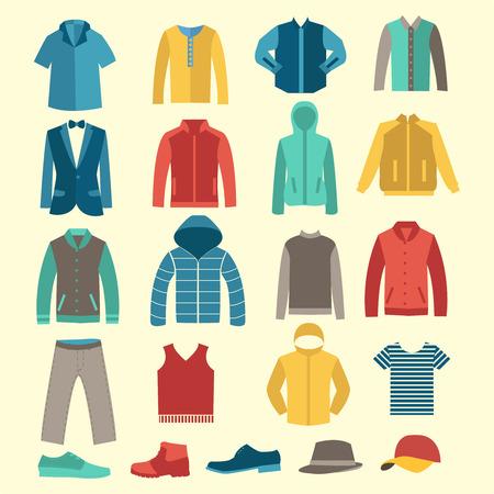 tienda de ropa: Conjunto de la colección de moda de hombre armario. Ropa masculina Varios - Conjunto de planos de los hombres de ropa y accesorios iconos - Ilustración Vectores