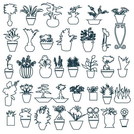 formal garden: botanical set outline of Black white Herbs pots - Illustration