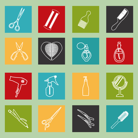 haircutting: haircutting tool icons  outlined  Design ELements Barbershop objects