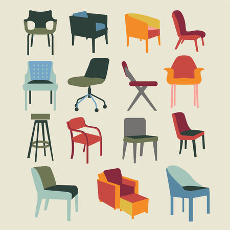 Set iconen van stoelen interieur meubilair pictogram-illustratie Stock Illustratie
