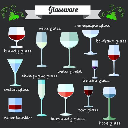 port wine: Wine Glassware flat design icon set with description.