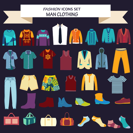cardigan: Vector Set of Fashion collection of man wardrobe. Various male clothing