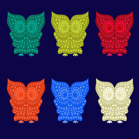 combinations: Decorative Vector Colorful Cute Owl Characters  - Illustration. Vector illustration of colorful owls with six color combinations. Illustration