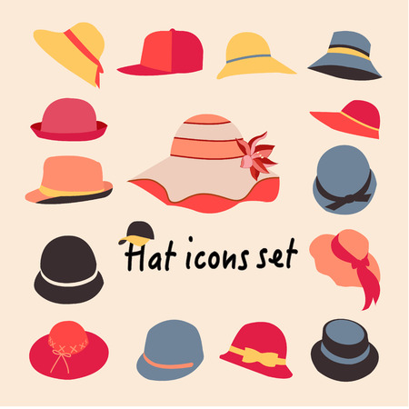 head shoulders: Vector collection of hats for men and women icons set, different types of hats Illustration