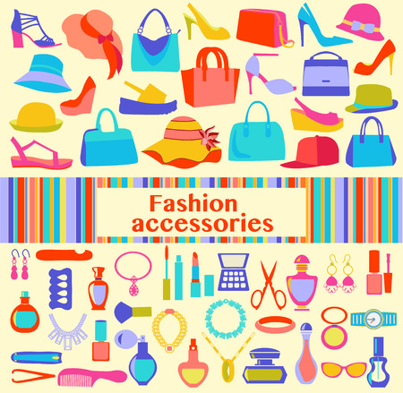 personal accessory: Fashion and beauty women accessories, icons - Illustration. Background  of  fashion Women accessories