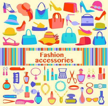 beauty women: Moda y belleza accesorios de las mujeres, los iconos - ilustraci�n. Antecedentes de la moda de las mujeres accesorios