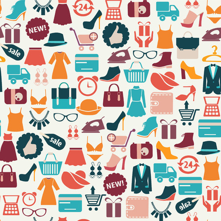 vintage clothing: seamless vector background with colorful shopping icons Illustration