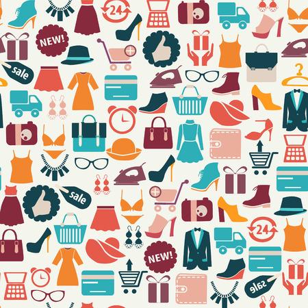 comprando: vector de fondo sin fisuras con coloridos iconos de compras Vectores