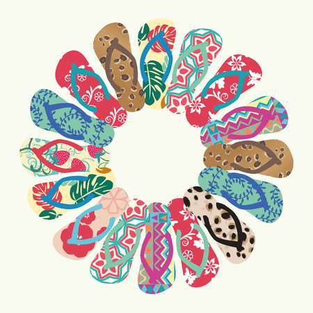 tossing: Flip Flops and Slippers  Vector round pattern- Illustration Illustration