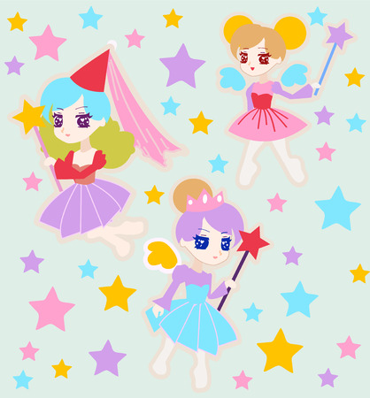 artificial wing: Vector  Background of Cute Fairy Princess Character with Wings