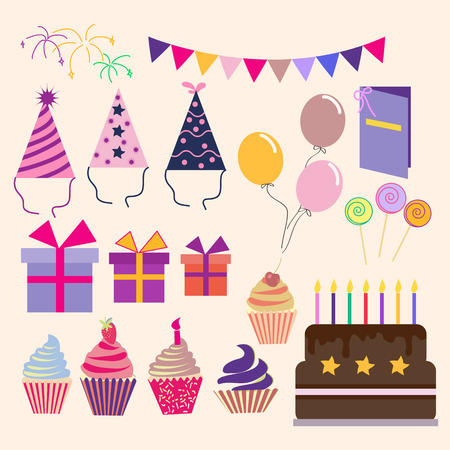 vector vector set of vector birthday party elements-illustration
