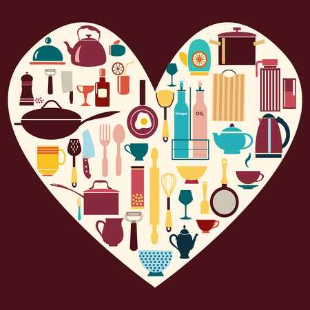 commercial kitchen: vector kitchen and restaurant icon kitchenware set with heart shaped