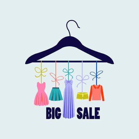 hanger met mode vrouwen zomer kleding. Modezaak voor het ontwerp mode Stock Illustratie