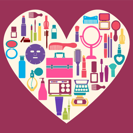 hand mirror: Set icon of MakeUp and beauty cosmetic Symbols pattern over heart shape background - Illustration Illustration