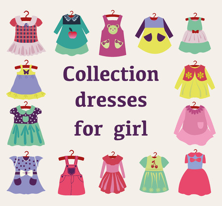 small group of objects: Vector Set of Fashion girl dresses. Clothes for children- illustration