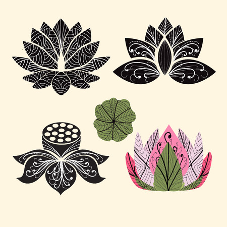 water black background: Vector Lotus flowers silhouettes. Set of vector Lotus hand-drawing - Illustration  on white background